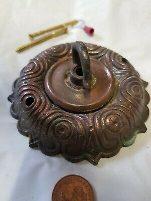 ANTIQUE CEILING ROSE 98mm chandelier hook COPPER on Iron c1910 unpolished