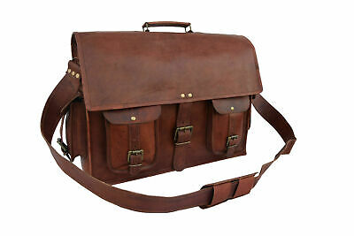 "Extra Large 18"" Inch High Quality Genuine Leather Briefcase Laptop Messenger Bag"