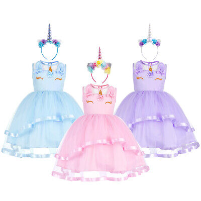 Kid Girls Unicorn Party Costume Princess Dress Up Halloween Carnival Xmas Outfit