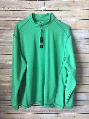 Pebble Beach Performance Mens 1/4 Zip Golf Pullover Shirt Large Green NEW HBY7