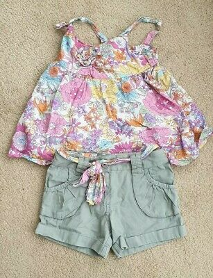 Girls Gypsy Style Shorts & Flower Top Set Matalan Especially for You Age 6 to 7