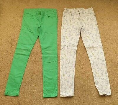 2 Pairs Individual Girls NEXT Jeans. Age 11. Green and Blue Flower Pattern