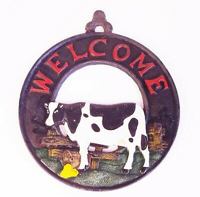 Cast Iron Hand Painted Welcome Kitchen Decoration Wall Art Cow Sign