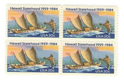 Hawaii 33 Year Old Mint Vintage US Postage Stamp Block from 1984