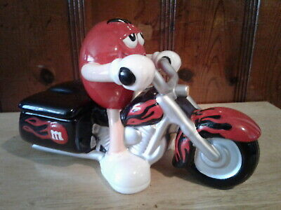 M&M's MOTORCYLE CANDY DISH ~ RED 2002 ~ GREAT CONDITION