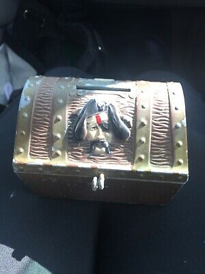 Vintage Cast Metal Coin Bank Pirates Treasure Chest by EJ Kahn Co, Chicago ILL