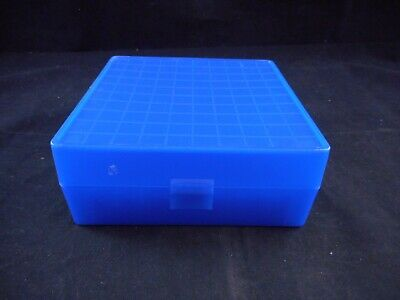 Lab Plastic 10x10 100-Place Cryogenic Freezer Box Alphanumeric Labeled Blue