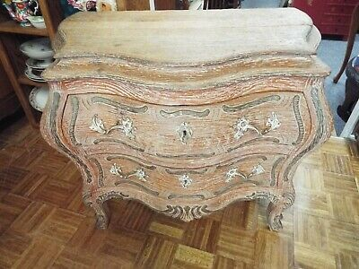 Vintage Rustic French Louis Xv Wormwood Bombe Chest/Commode