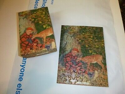 """Vtg Mid Century Jigsaw Puzzle Deer Hunter Advanced Scout 5.25"""" x 7.25"""" Complete"""