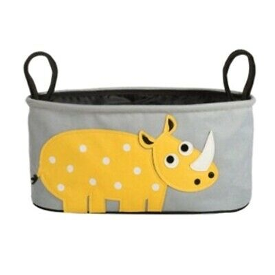 Playpen Baby® Gray Embroidered Yellow Hippo Hanging Stroller Bag