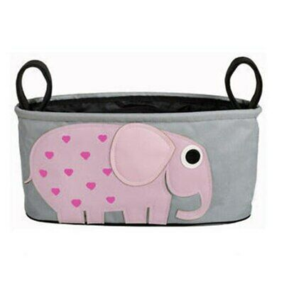 Playpen Baby® Gray Embroidered Pink Elephant Hanging Stroller Bag