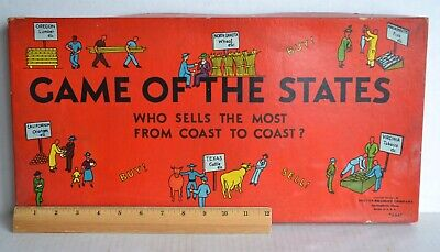 Vintage 1940 GAME OF STATES Educational BOARD GAME Milton Bradley Complete