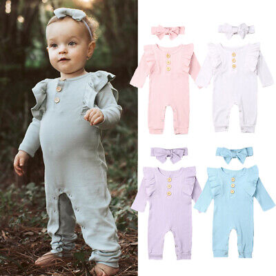 UK Newborn Baby Girl Boy 2PCS Autumn Clothes Set Knitted Romper Jumpsuit Outfit