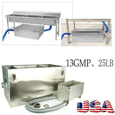 25LB 13GPM Stainless Steel Grease Trap Interceptor Restaurant W/ Filter Basket