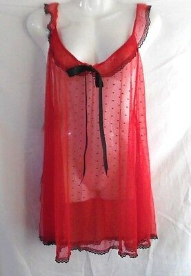 Secret Treasures Lace Babydoll Top Panty Red Chemise Nightgown Xl 16 -18