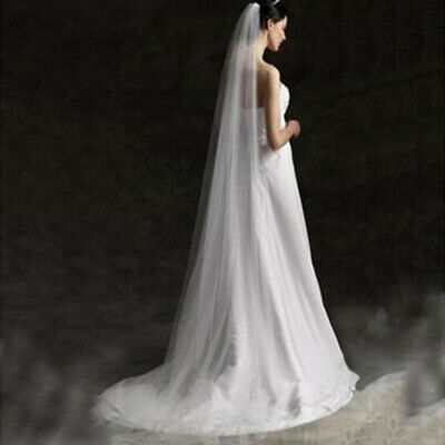 Long Prom Gown Simple Wedding Bridal Veil Cathedral With Comb 2M IC1C