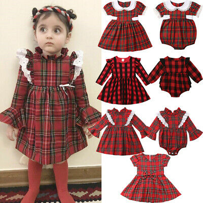 Christmas Toddler Baby Girl Sister Matching Clothes Jumpsuit Romper Dress Outfit