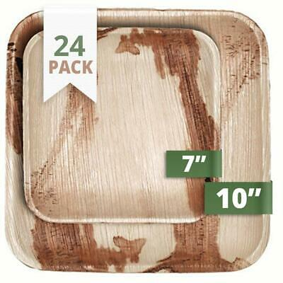 """24 X Disposable Compostable Eco Palm Leaf Bamboo Natural Square Plates Party 10"""""""