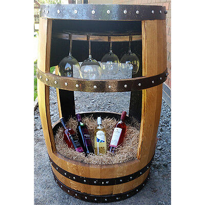 Recycled Solid Oak Whisky Keg The Charlotte Drinks Table and Glass Holder | Cask