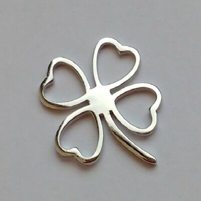 FOUR LEAF CLOVER Connector-Solid 925 Sterling silver-Pendant/necklace-Chain opt