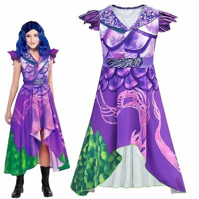 Girls FSHION Descendants 3 Mal Costume Jumpsuit Halloween Cosplay Outfit Dress