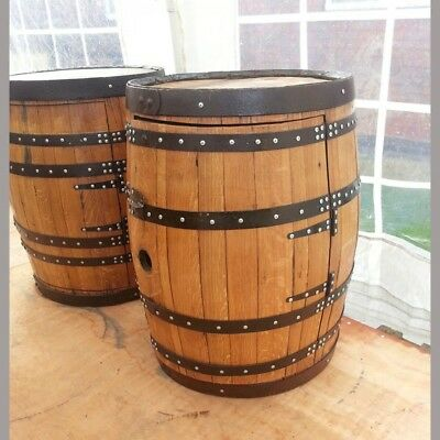 Recycled 65 Gallon Solid Oak Wooden Whisky Keg Balmoral Wine Rack Drinks Cabinet