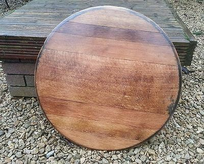 Recycled Solid Wooden Oak Whisky Barrel Ends lid cask drinks tray Vintage