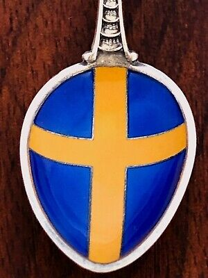 - David Andersen Norwegian Sterling Silver  & Enamel Souvenir Spoon For Sweden