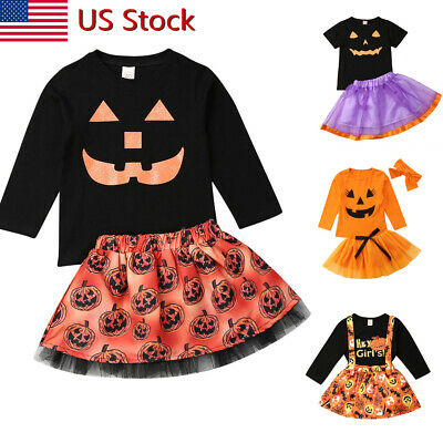 Toddler Baby Kids Girls Halloween Top+ Skirt Outfit Set Party Dress Clothes US
