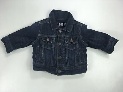 Girls Baby Gap Dark Blue Wash Denim Jacket Long Sleeve Poppers Age 0-6 Months