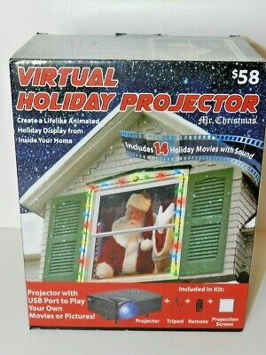 Mr Christmas Virtual Holiday Projector 8 Movie Screen Window Projection