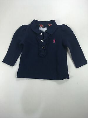 Girls Ralph Lauren Navy Blue Frilly Long Sleeve Polo Shirt T-Shirt Age 6 Mths