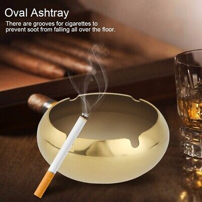 Windproof Ashtray Cigarette Smoking Oval Tray Stainless Steel Container Tools