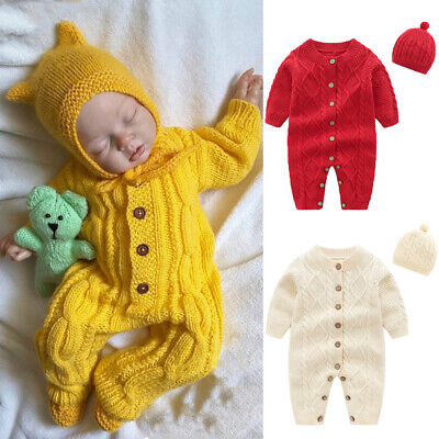 UK 2PCS Winter Newborn Baby Girl Boy Knitted Long Sleeve Romper Overall Clothes