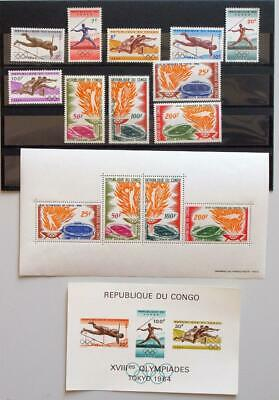 CONGO 1964 OLYMPICS, Cpl XF MNH** Sheets + Sets, Sports Tokio Japan Stamps
