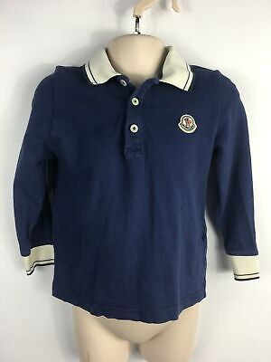 Kids Boys Moncler Navy White Long Sleeve Polo Shirt Top Casual Size 92 Cm 2 Yrs