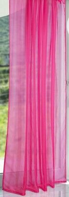 1 Pair FUCHSIA  Lucy TAB TOP  Plain Voile Curtain Panel Washable - Net & Voile