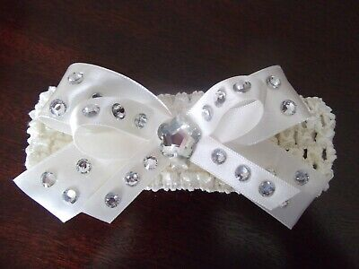 Baby / Girls cream Crochet Romany Bling double bow Headband onesize fits all.
