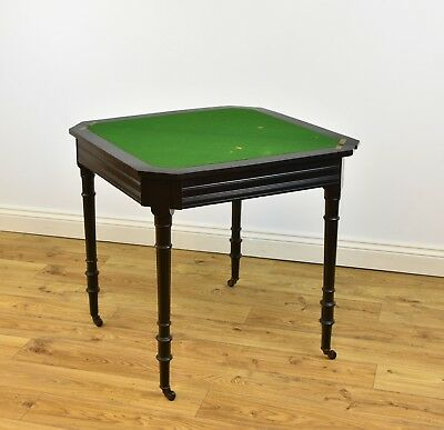 ANTIQUE AESTHETIC MOVEMENT EBONISED CARD SIDE HALL TABLE Victorian 1870s