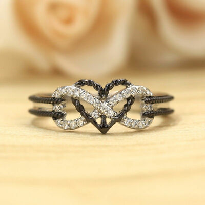 """Women""""s Ring 925 Silver Plated Fashion Size 10 Black Heart Infinity Thumb Finger"""