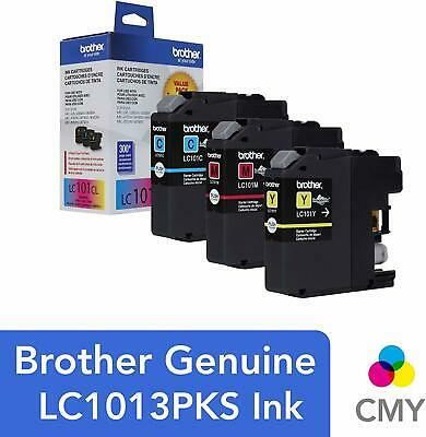 Brother LC1013PKS Cyan/Magenta/Yellow Ink Cartridges, Pack of 3 | EXP APR 2020