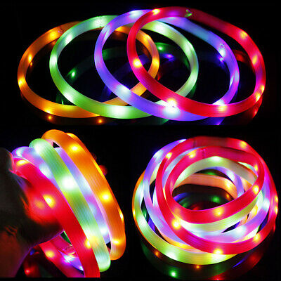 PW_ USB Rechargeable LED Flashing Light Silicone Safety Pet Dog Cat Collar Rel