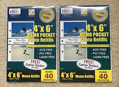 "New - Lot of 2 - 4"" x 6"" Memo Pocket Photol Refills 10 Sheets, Holds 40 Photos"