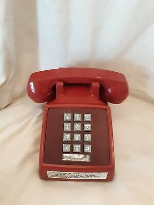 Bell 2500MG Red Push Button Touch Desk Phone Landline Vintage Telephone
