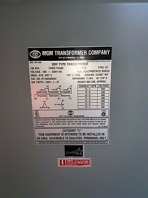 New MGM Aluminum 3-Phase General Purpose Dry Type Transformer (#HT150A3B2SH)