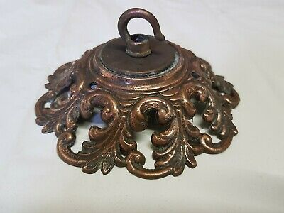 LARGE 143mm CEILING ROSE chandelier hook FRENCH GOTHIC copper VINTAGE old c1930