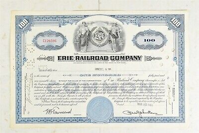 1953 Erie Railroad Company Stock Certificado ~ 100 Acciones
