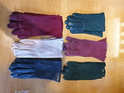 Job Lot Of 6 Pairs Of Vintage Leather/Suede Ladies Gloves Size S/XS
