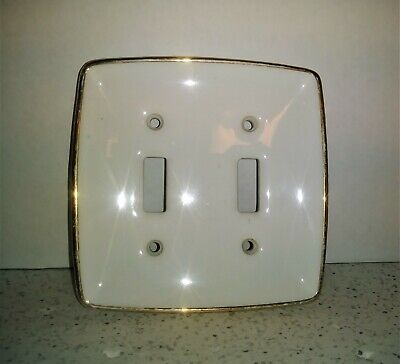 Vintage Shabby Porcelain Electric Double Switch Plate Cover Off White Gold Trim