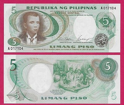 Philippines P-159c ND Sign 9 Red Seial Number  2 Piso Crisp Uncirculated
